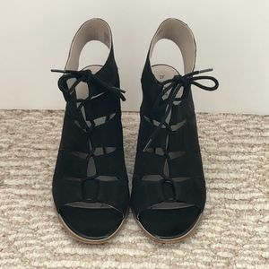HINGE Black Suede Lace-Up Booties